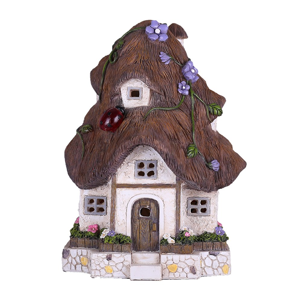 Valery Madelyn Fairy Garden House Outdoor Cottage Statue with Solar Lights Polyresin Garden Figurines for Outdoor Decoration (Outdoor Paradise)