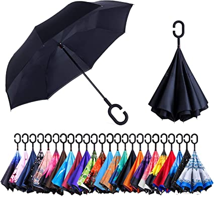Upside Down Windproof Inverted Reverse C-Handle Folding Umbrella With Carry Bag