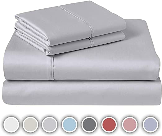 Queen Size Fitted Bed Sheet Deep Pocket Soft /& Silky Sateen Weave Cotton Fibers
