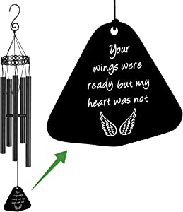 Memorial Wind Chimes for Loss of Loved One Sympathy Gifts Loss of Dad Mom Wife Husband Son Daughter Rememberance Large Angel Windchimes Outside Garden Your Wings Were Ready but My Heart Was Not
