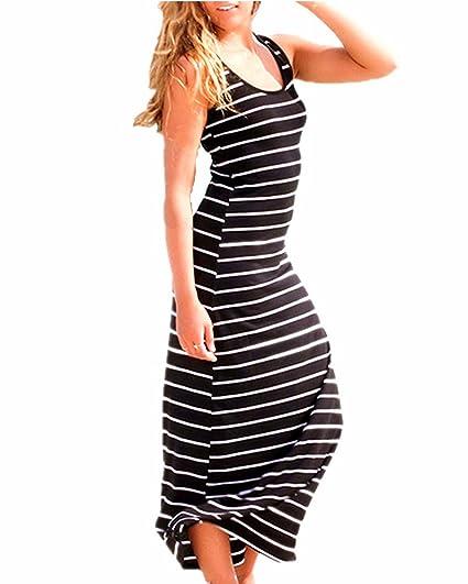 22505fe799 KISSLACE Femme Robe Longue d'été Rayée Coton sans Manches Robe de Plage  Soirée Casual