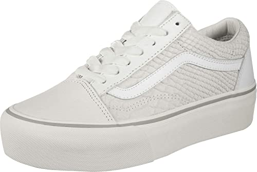 Vans UA Old Skool Platform White Leather Adult Trainers: Amazon.de ...