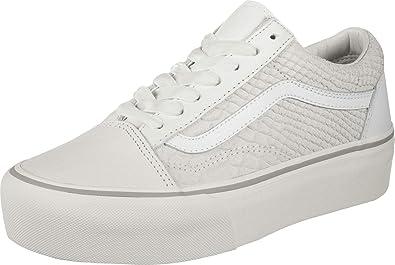 Vans UA Old Skool Platform White Leather Adult Trainers: Amazon.de ...