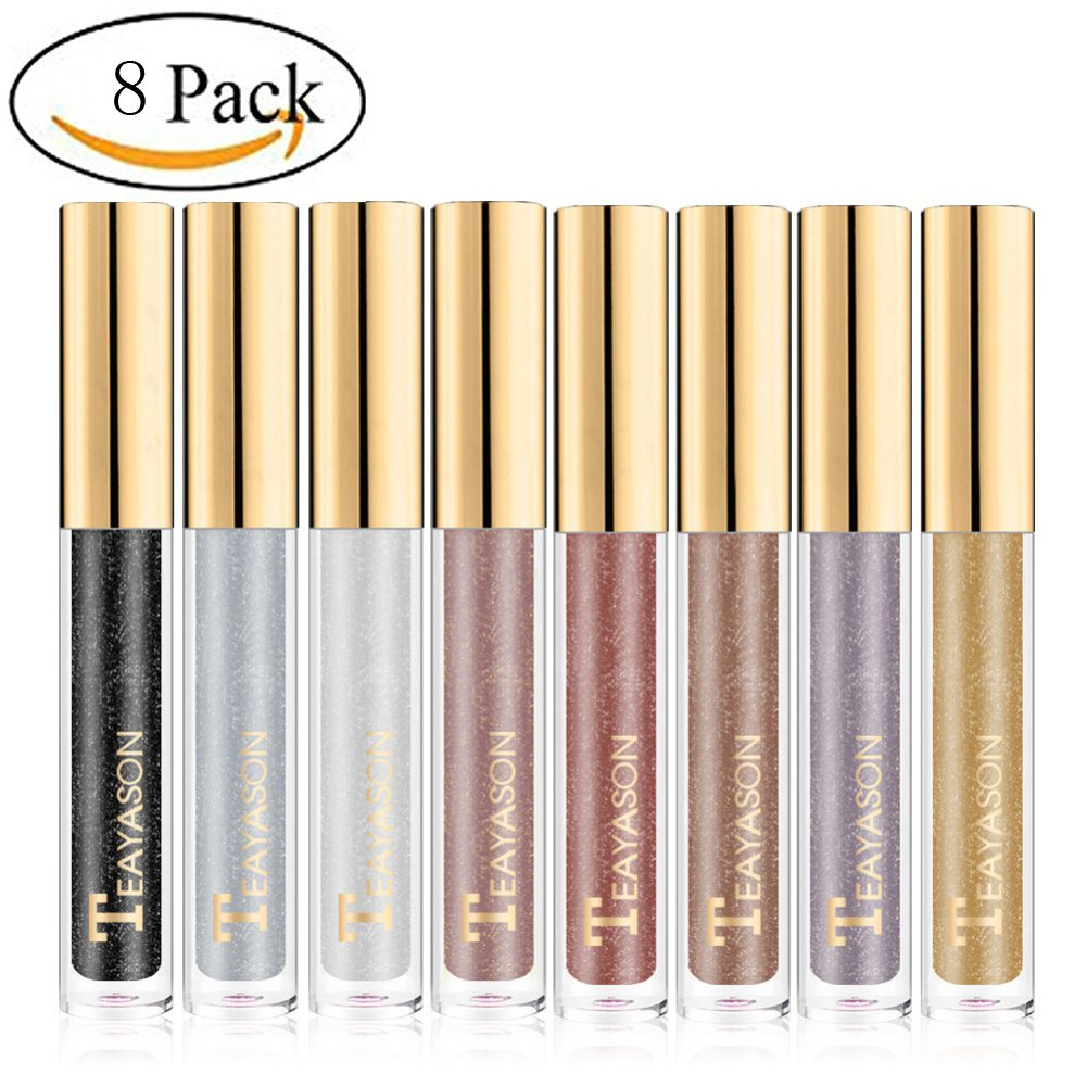 Sunsent Glitter Liquid Eyeshadow Sets, 8 Colors Long Lasting Sparkle Metals Glitter Eyeliner Diamond Eye Shadow