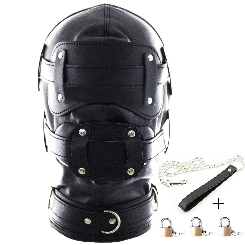 Aaijia Leather Costume Head Mask Hood Full Face Mask Unisex Masquerade Headgear Mask