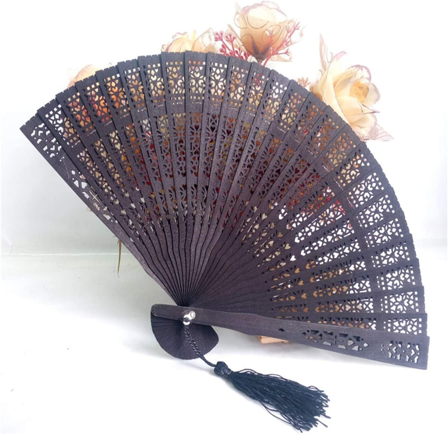 Wedding Hand Fragrant Party Carved Bamboo Folding Fan Chinese Wooden Fan TE