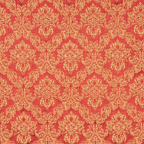 Matelasse Upholstery Fabric (Venetian Red Beige and Burgundy Floral Brocade Upholstery Fabric by the yard)