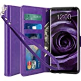 Galaxy S8 Plus Case, LK [Wrist Strap] Luxury PU Leather Wallet Flip Protective Case Cover with Card Slots and Stand for Samsung Galaxy S8 Plus (Purple)