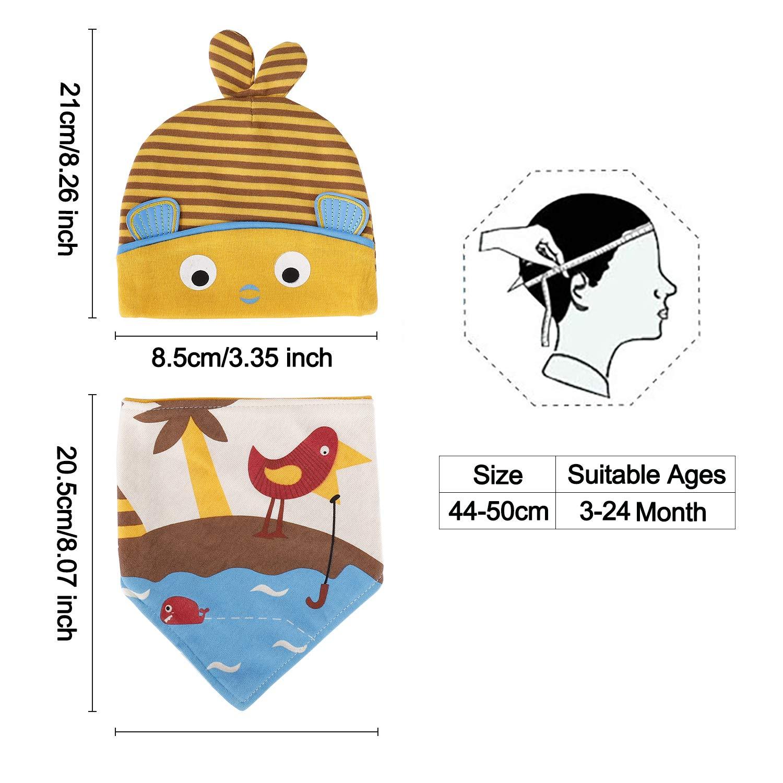 Beb/é Beanie Sombrero Algod/ón Suave Elastico Stretch Head Wrap y Absorbente Bandana Baberos for Boys Girls Infant Toddler 3-24 Months 4 Pcs