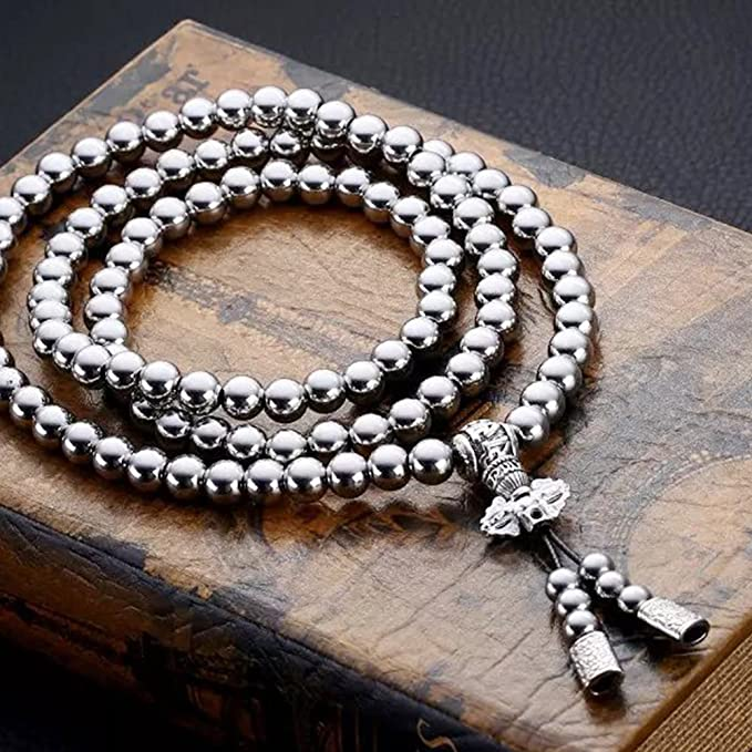 z Outdoor Stainless Steel Titanium 108 Buddha Beads Necklace Chain Self Defense