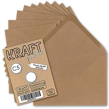 50 x Natur Briefumschläge C6 Kraftpapier Kraft 11,4cm x 16,2cm