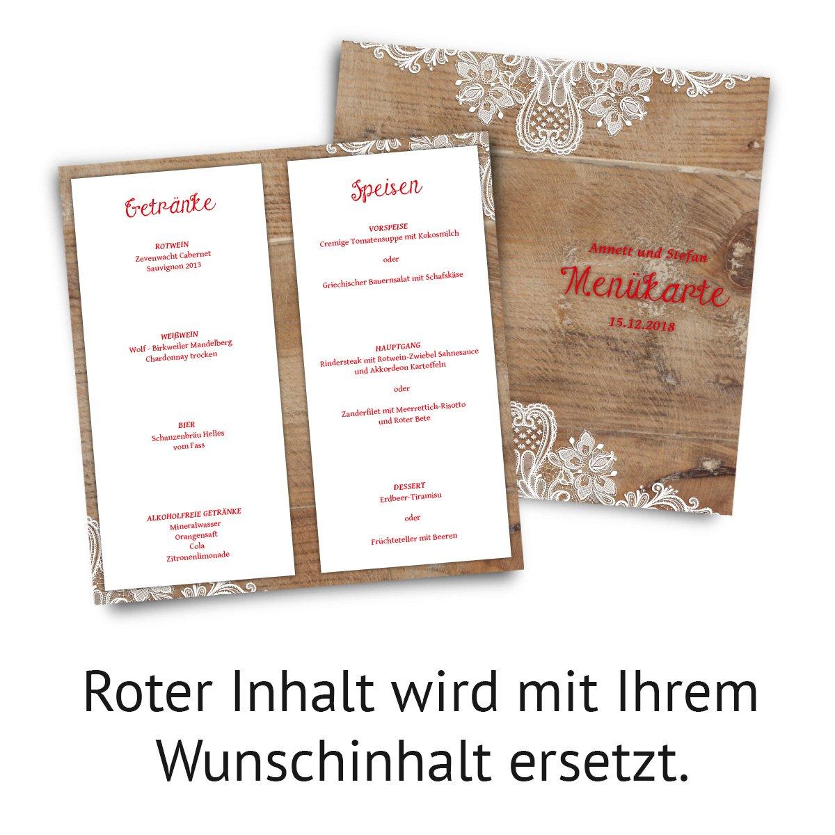 20 x Hochzeit Men/ükarten Men/ü Speisen Getr/änke Rustikal mit wei/ßer Spitze DIN Lang Klappkarte