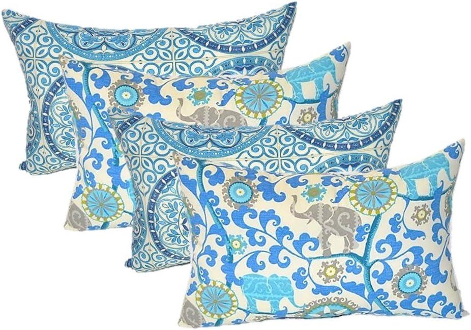 Resort Spa Home Decor Set of 4 Indoor Outdoor Decorative Lumbar Rectangle Pillows – 2 Indigo Cancun Blue Grey Bohemian Elephants Menagerie Sapphire 2 Indigo Blue Color Wheel