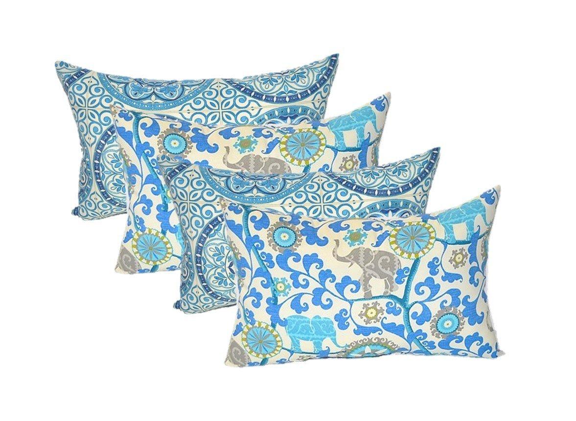 Set of 4 Indoor Outdoor Decorative Lumbar Rectangle Pillows – 2 Indigo Cancun Blue Grey Bohemian Elephants 2 Indigo Blue Color Wheel