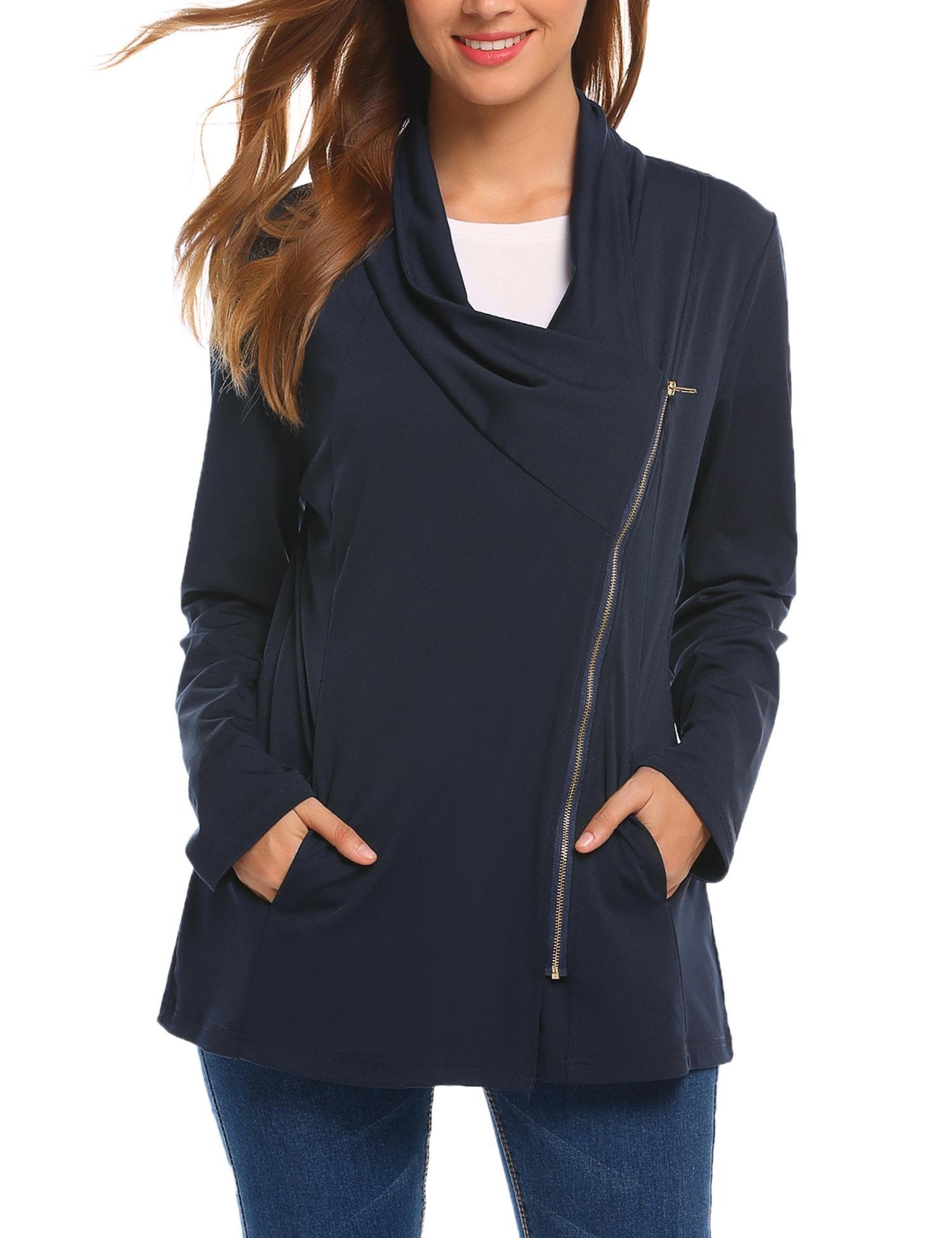 SummerRio Womens Open Front Solid Color Jacket Blazer Coat with Pockets Purplish Blue Navy Large