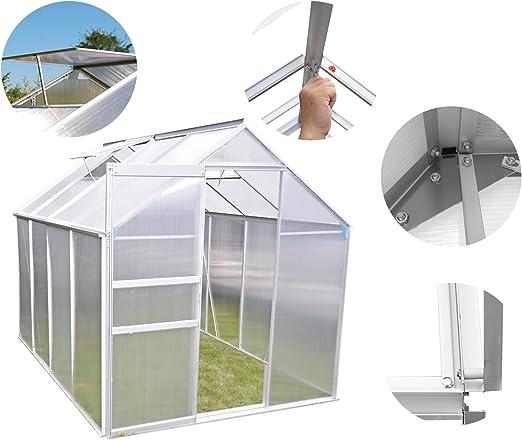 weibo aluminio invernadero jardín invernadero de policarbonato transparente con cerrojo de seguridad para puerta y ventana de ventilación: Amazon.es: Jardín