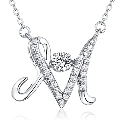 Amazon Com Letter Necklace Yl Sterling Silver Dancing Diamond Cz