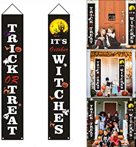 Junsen Halloween Decorations Outdoor, Trick or Treat Set for Welcome October Witches Hanging Decorations Porch Signs Durable Scary Decor for Front Door Home Outdoor Party Decor Supplies (Black)
