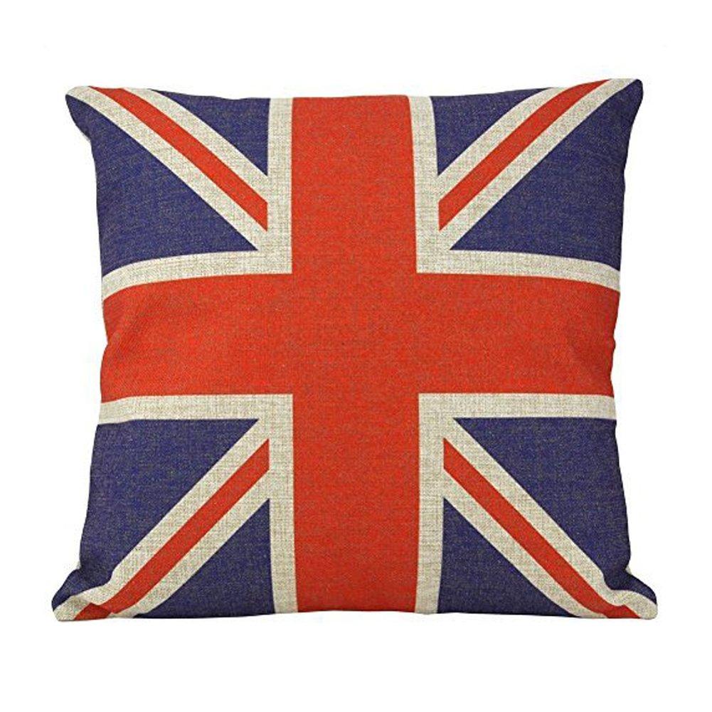 Coliang individualità bandiera britannica British vintage Style Union Jack Flag custodia per cuscino, federa 45,7x 45,7cm (45x 45cm) [non inserire]–Bandiera britannica, cotone/lino, British Flag, 45x45CM[No Insert]