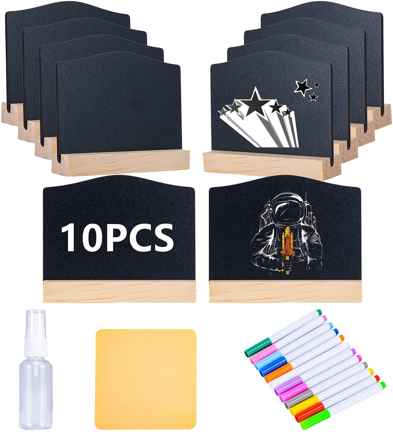Reusable 10 Pcs Double-Sided use Mini Chalkboard Signs with Easel Stand for Food Labels, Message Board Signs,Weddings Place Cards, Birthday Parties,Table Numbers,Plants,Special Event Decorations