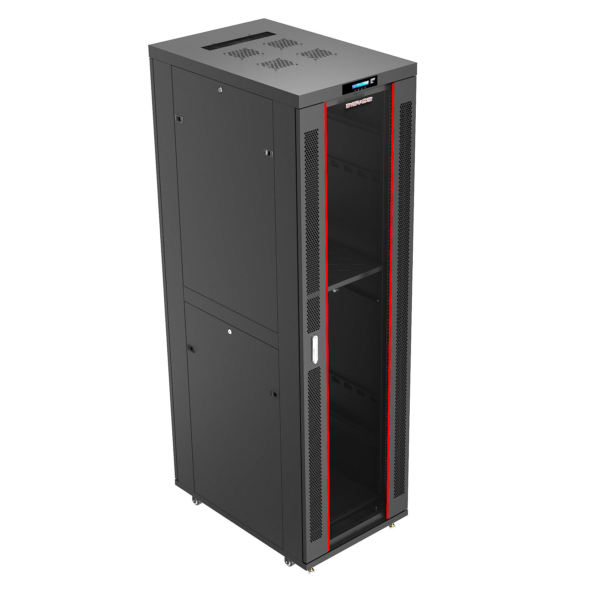 42U it Standing Server Rack Cabinet Enclosure. Fits Most 19'' Equipment. Bonus Temperature Control System, Casters, LED-Screen, PDU and Other Accessories Included