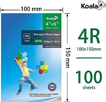 100 fogli con rivestimento in resina satinata avanzata per stampanti a getto dinchiostro Canon Hp Epson 250 g//m/² 10x15 cm KOALA Carta fotografica Satinata 4x6