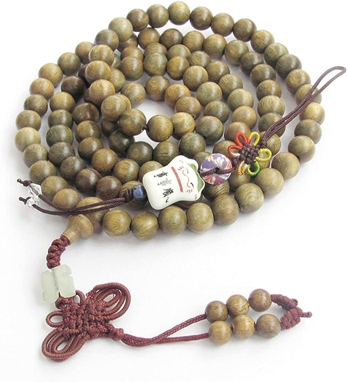 108 beads Natural Tiger Skin Sandalwood Round Wood Beads Mala Prayer Beads 6mm 8mm 10mm