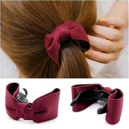 2pcs Mujeres Niñas Bowknot Horquilla Pelo Clip Pinza para pasador para  Headwear Ponytail Holder pelo aoriccesses 1432cc13600d