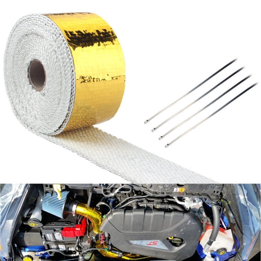 JUDING 2x15 Ft Roll Exhaust Header Pipe Wrap Barrier Reflect-a-gold With 4 Ties Kit