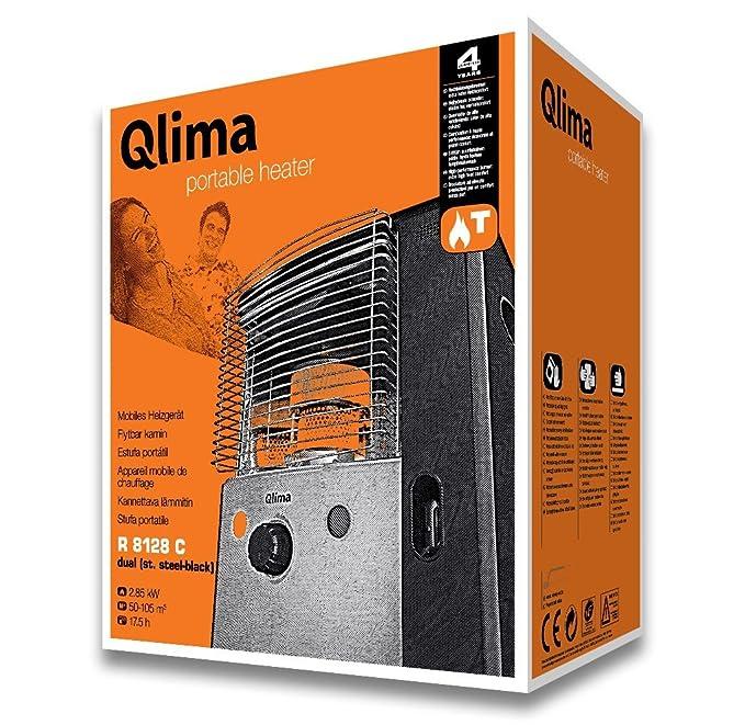 Qlima Estufa de parafina líquida portable R 8128 C en acero inoxidable. Gris: Amazon.es: Jardín