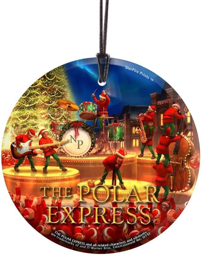 Amazon Com Trend Setters The Polar Express Christmas Elf Band Starfire Prints Hanging Glass Ideal For Gifting And Collecting Home Kitchen