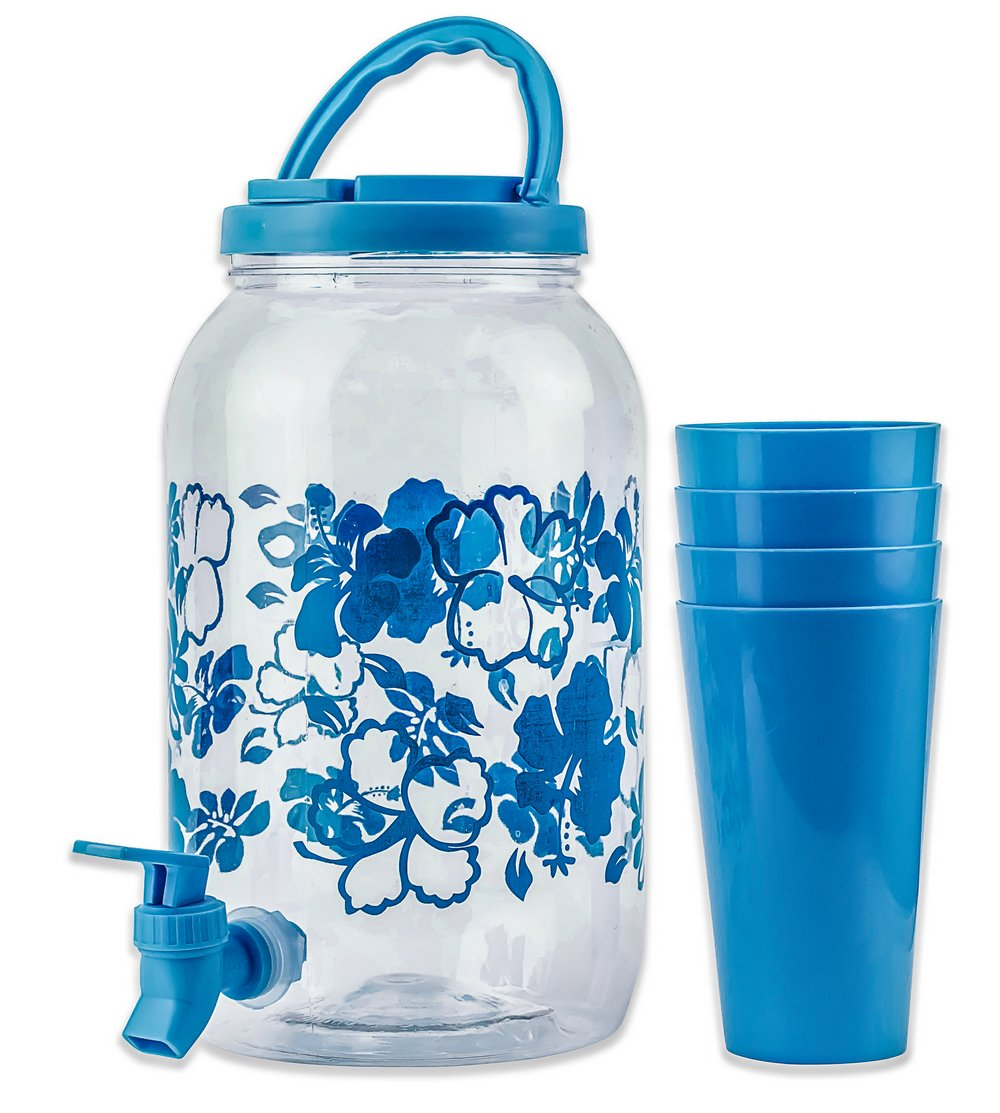 DecorRack Plastic Beverage Dispenser with Spigot and 4 Cups, Spout Jar Cold Drinks Only, Portable 1 Gallon Container with Flip Cap for Parties, Picnic -BPA Free- Blue (1 Jar, 4 Cups)
