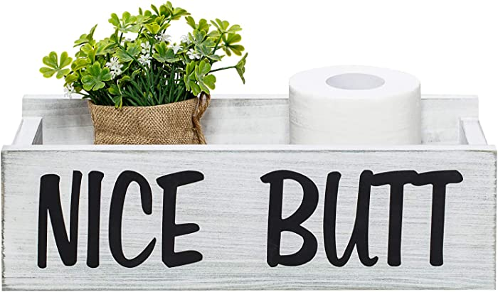 Nice Butt Bathroom Decor Box, Farmhouse Wooden Bathroom Box, Wooden Rustic Toilet Paper Holder, Funny Home Decor Box for Bathroom, Kitchen, Table and Counter (Grey)