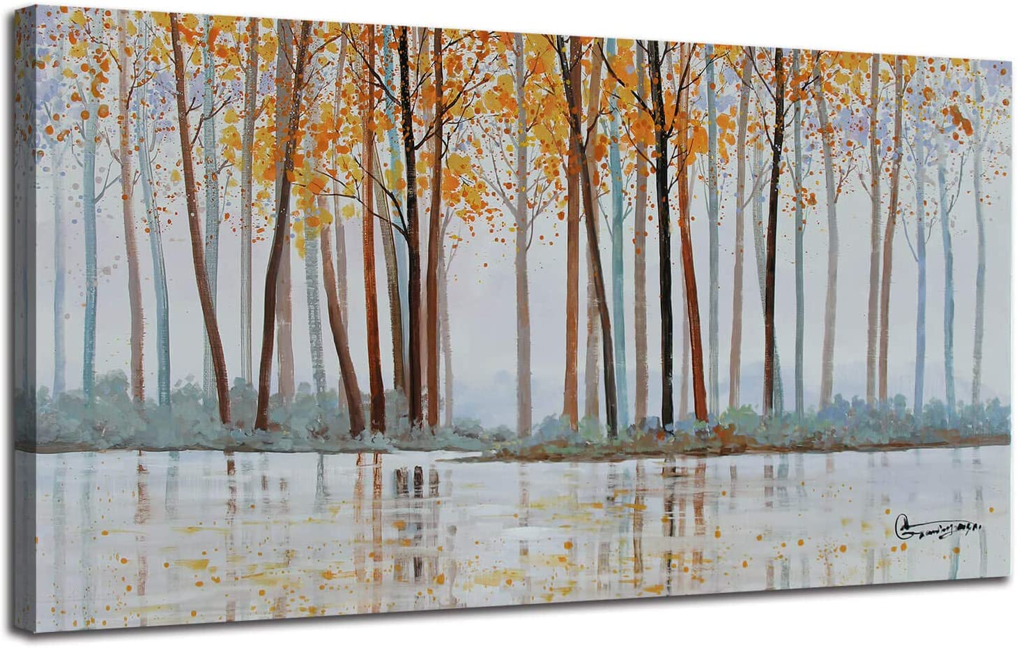 Amazon Com Canvas Wall Art Birch Trees Branches Landscape Yellow Painting Watercolor Picture Poster Prints Modern One Panel 48 X24 Framed Large Size For Living Room Bedroom Home Office Décor Everything Else