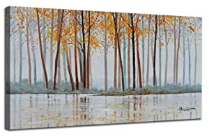 """Canvas Wall Art Birch Trees Branches Landscape Painting Watercolor Picture Poster Prints, Modern One Panel 48""""x24"""" Framed Large Size for Living Room Bedroom Home Office Décor"""