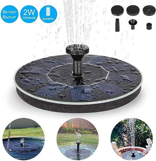 Eletorot Solar Fuente Bomba,Fuente Solar para Jardin 2.0 W Pequeño Estanque, Baño de Aves, Fish Tank, Decoración del Jardín: Amazon.es: Jardín