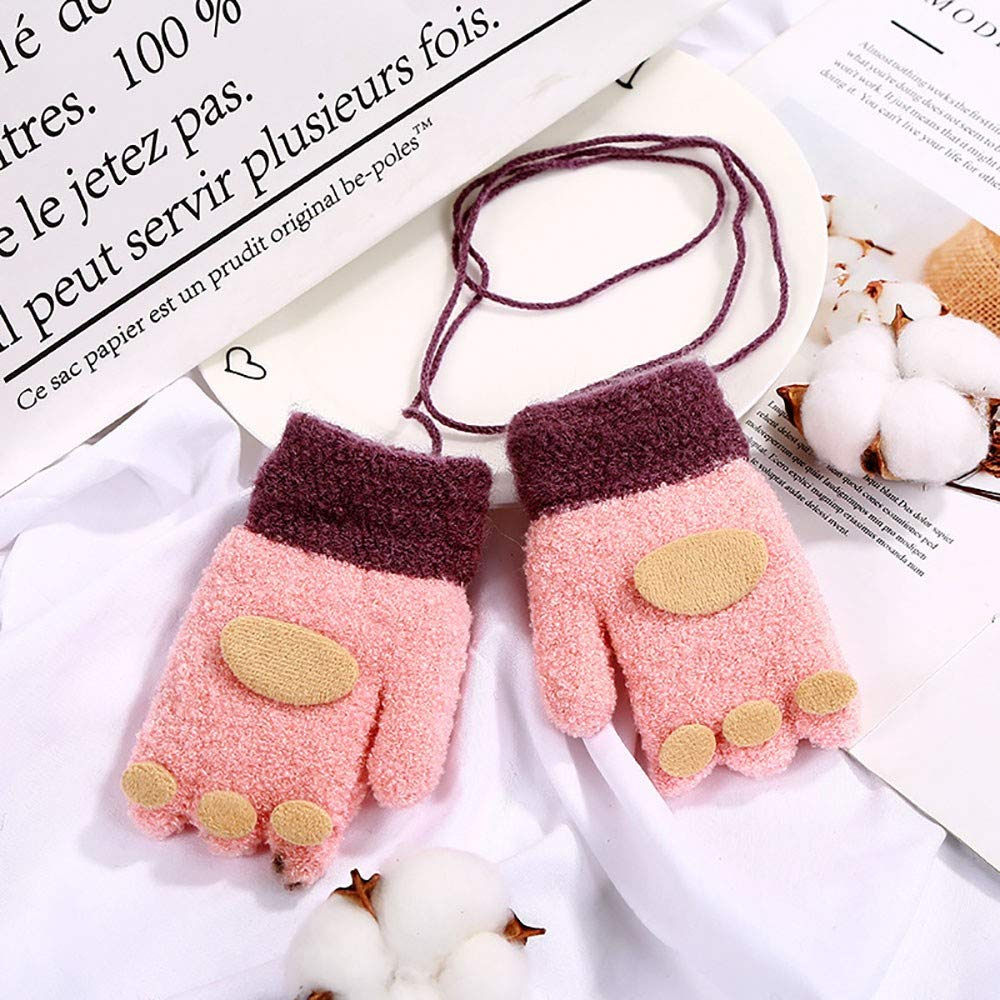 Children Boys Girls Winter Warm Casual Patchwork  Knitted Cute String Gloves
