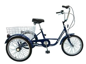 B+M Fitness Triciclo para Adultos - 20 Pulgadas, 3 Marchas Azul - con Freno de contrapedal, Cesta y - Timbre para Bicicleta: Amazon.es: Deportes y aire ...