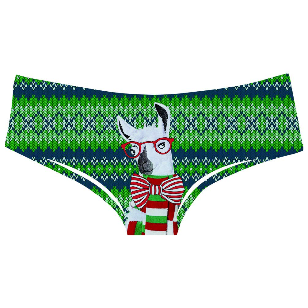 12803a533ffd TUONROAD 3D Personalized Animal Prints Brief Womens Pretty Popular Funny  Naughty Underwears Panty Teal Green White Alpaca with Glasses Bow Tie Scarf  Pretty ...