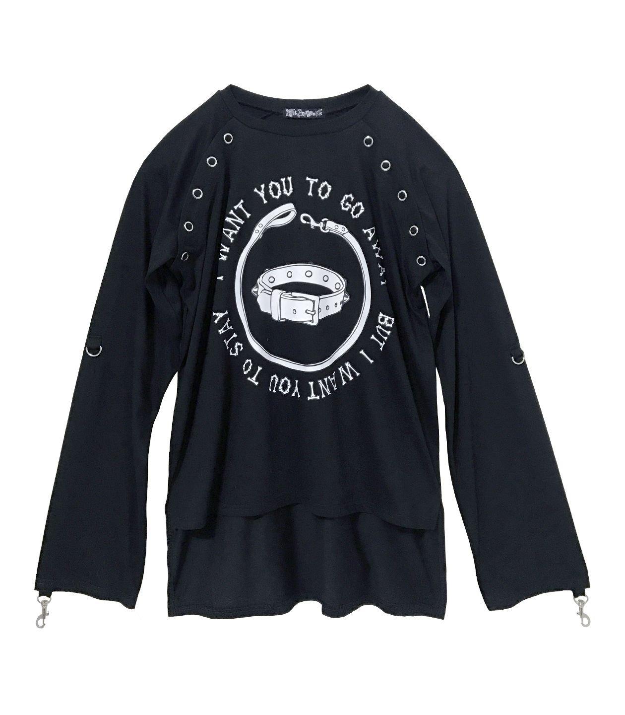HELLCATPUNKS(ヘルキャットパンクス) ガーゼシャツ風Tシャツ HCP-T-0050 B07916M5RW F|ブラック ブラック F