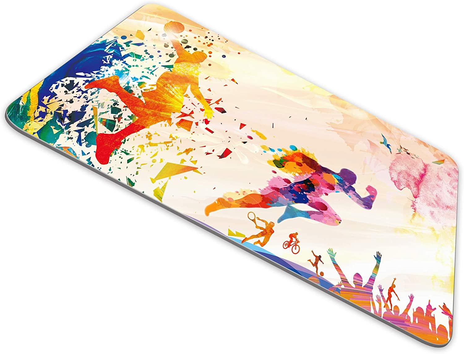 Sports Multicolor Background Mouse Pad With Basketball Background