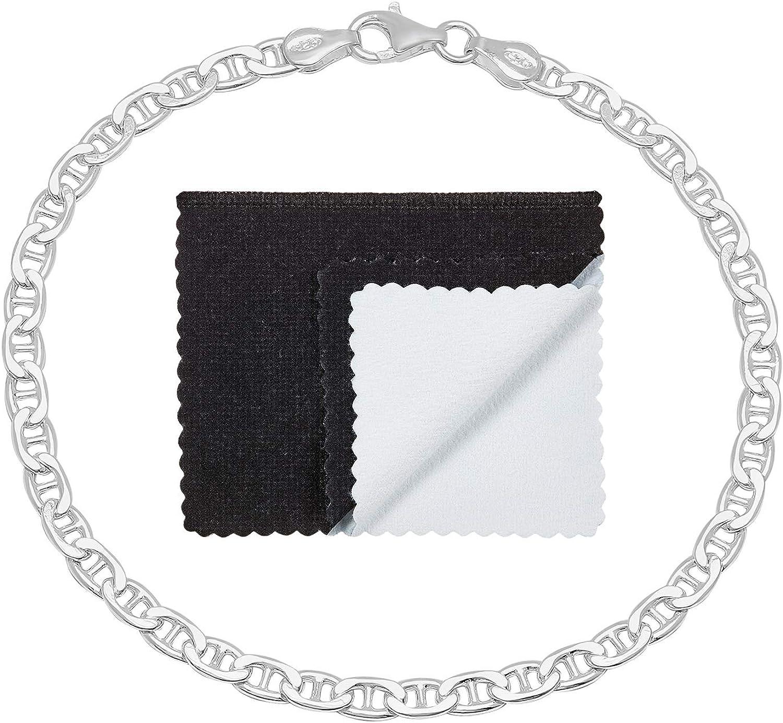 Men's High-Polished .925 Sterling Silver (Nickel Free) Flat Mariner Chain Necklace or Bracelet, 7'-40'