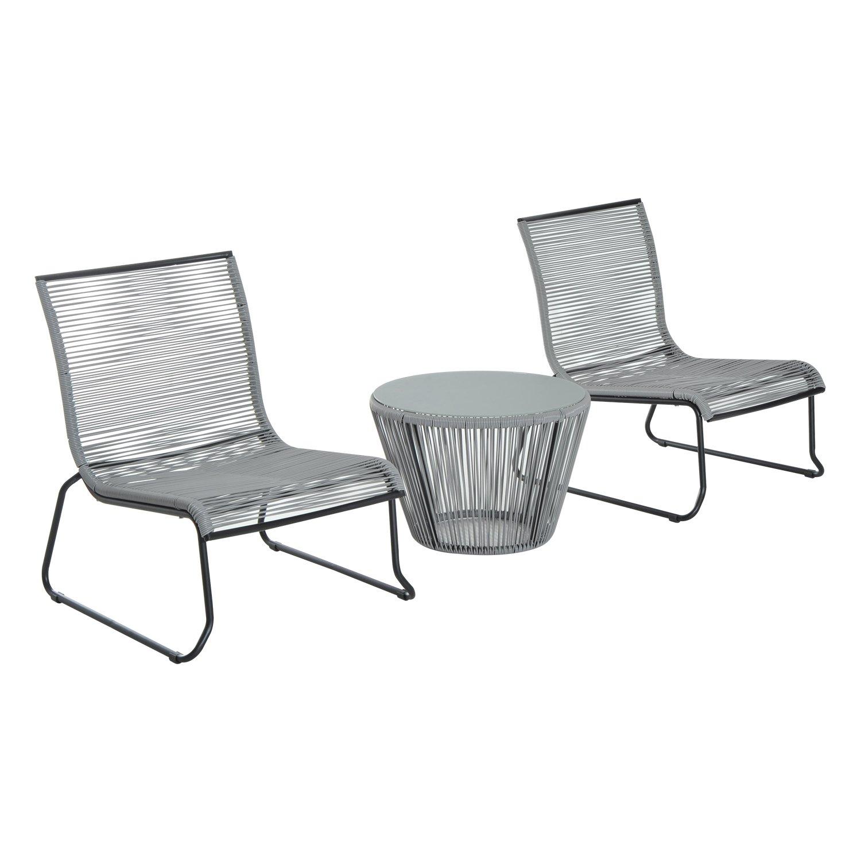 Amazon.de: Outsunny 3 Rattan Tisch Set Stühle OUTDOOR Garten Wicker ...