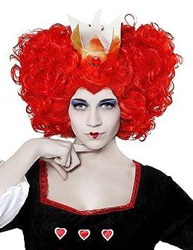 Peluca rizada reina Fantasia, color rojo