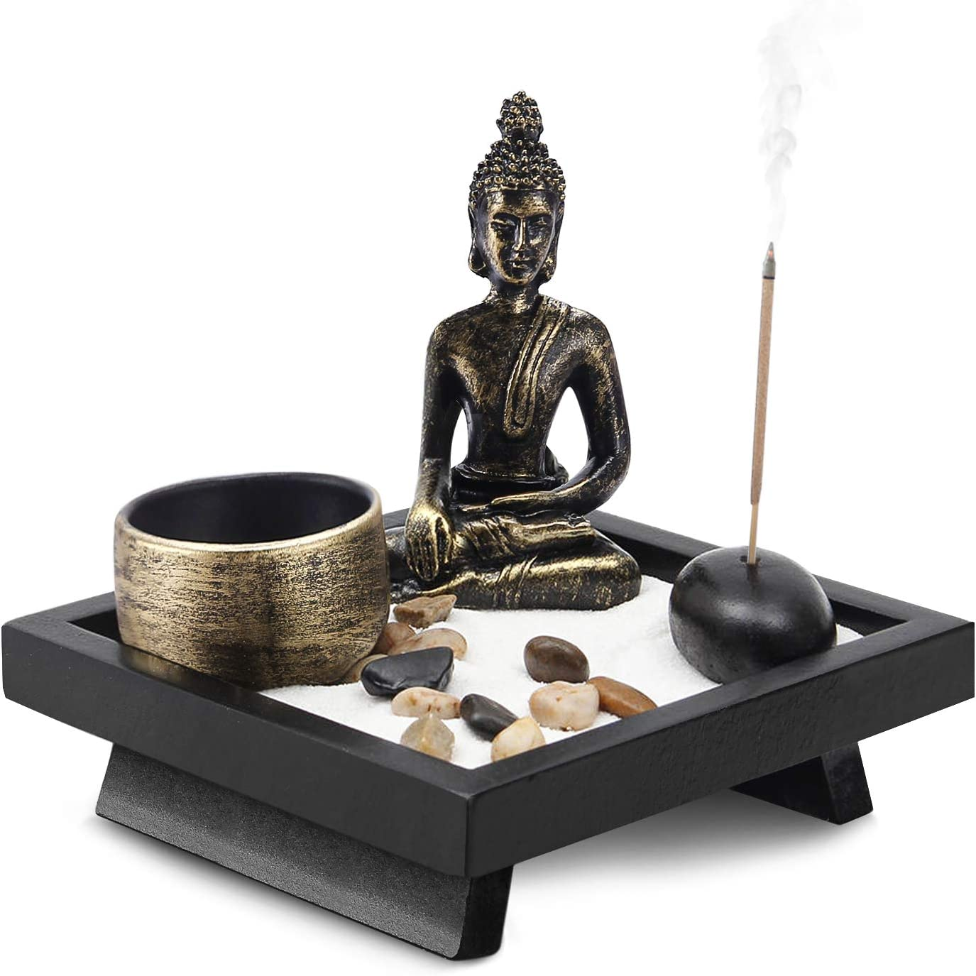 Flexzion Zen Garden Mini Small Japanese Rock Garden Raked Sand Meditation Decor w/Buddha Statue Incense Candle Holder Rake Natural Stones Fine Craft Sand, for Relaxation Office Home Desk, Bronze
