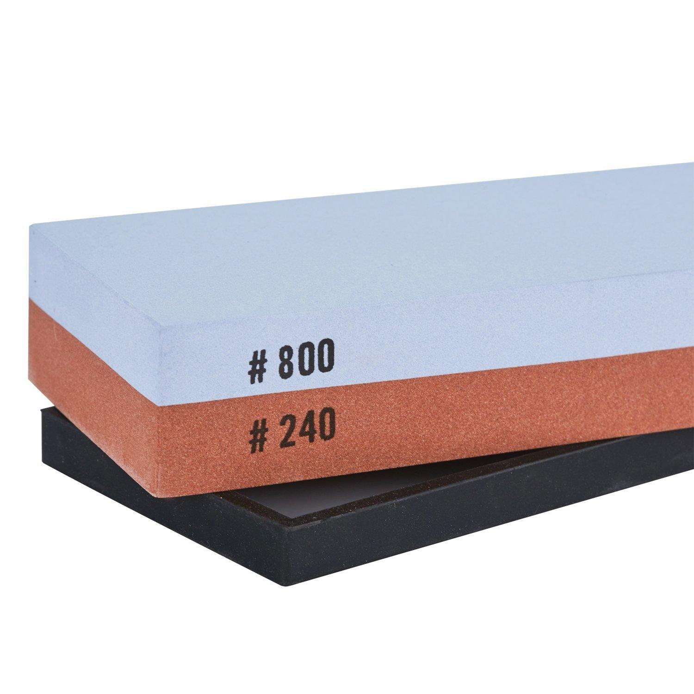 Pierre /à Aff/ûter Double Face Grain 240//800 avec Support Antid/érapant en Silicone Pierre /à Aiguiser