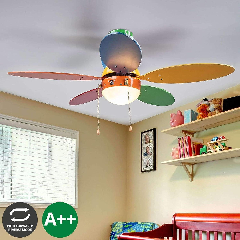 Ventilador de techo con lámpara 'Corinna' en Varios colores hecho de Madera e.o. para Cuarto de los niños (1 llama, E14, A++) de LAMPENWELT | Ventilador