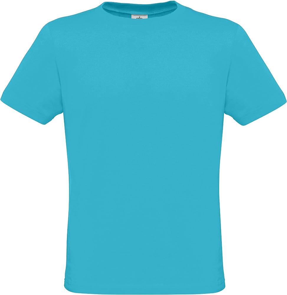 B&C - Camiseta Básica de Manga Corta para Hombre - 100% Algodon (Grande (L)) (Azul Piscina): Amazon.es: Ropa y accesorios