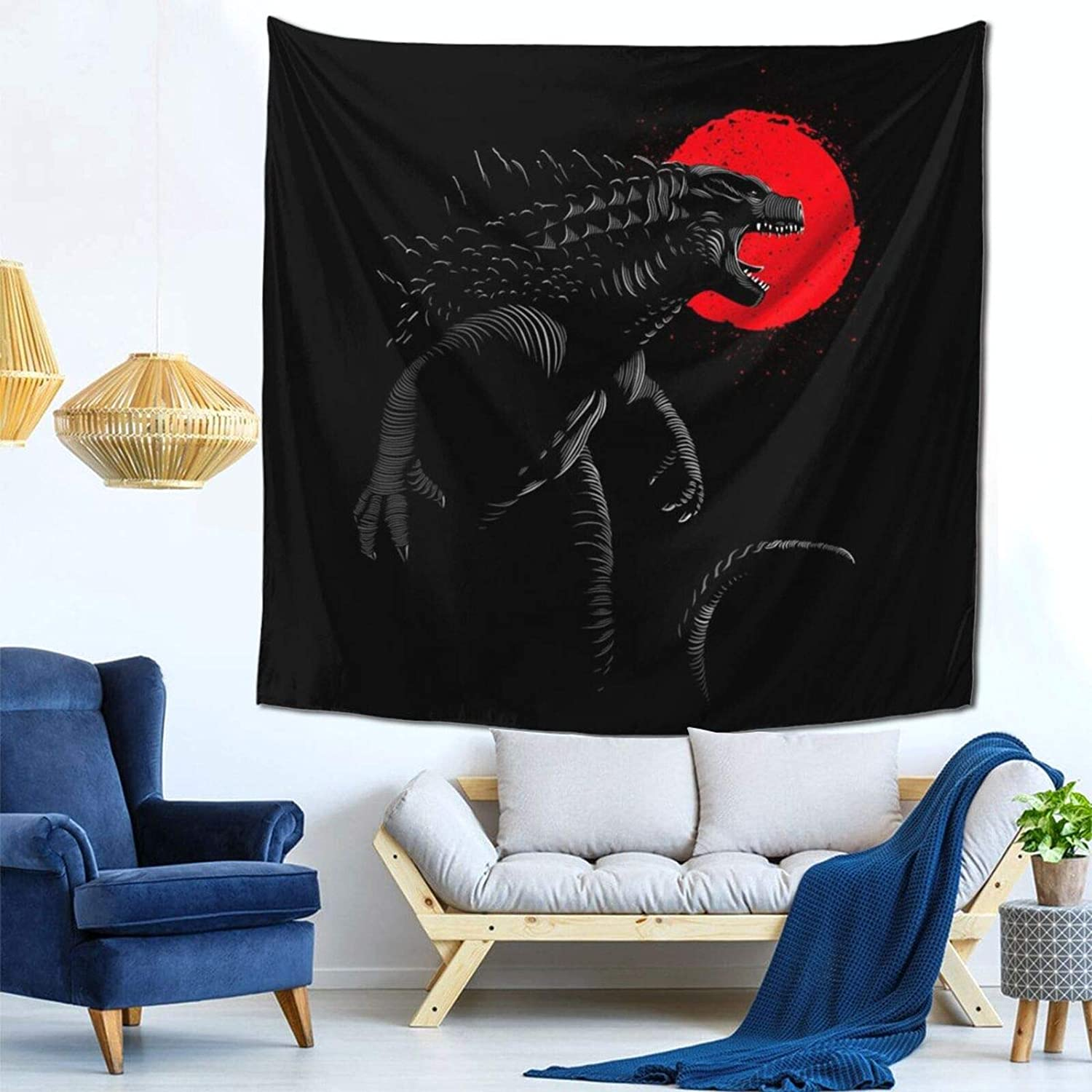 1033 Godzilla Destroy Wall Hanging Tapestry for Living Room and Bedroom Spreads Good Vibes 59×59 Inches
