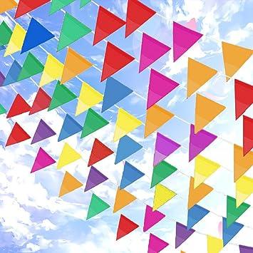 Topeedy Wimpel 200m Mehrfarbig Nylon Wimpelkette Banner Mit 300 Großen Dreieck Fahnen Für Indoor Outdoor Party Hausgarten Dekoration